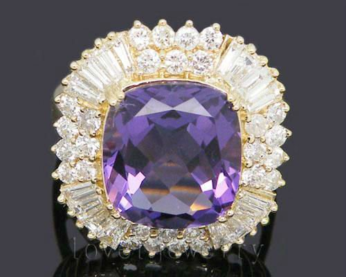 Vintage Cushion 14kt Gold 9.80Ct Natural Diamond Purple Amethyst Wedding Ring SR0002