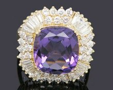 Vintage Cushion 14kt Gold 9 80Ct Natural Diamond Purple Amethyst Wedding font b Ring b font