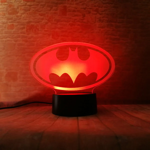 Image 4 - Amroe DC Justice League Marvel Batman Symbol 7 Color Dimming Auto 3D Night Light Child Kids Table Lamp Birthday Xmas Toys Gifts