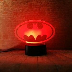 Image 4 - Lampara de mesa para niños, regalos de cumpleaños o de Navidad, de la Liga de la justicia de Marvel, Batman, 7 colores, luz nocturna 3D