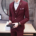 New Autumn Men Suit Jacket Plaid Pattern Terno Masculino Slim Fit Costume Homme Fashion England Style Tuxedos For Men 2015