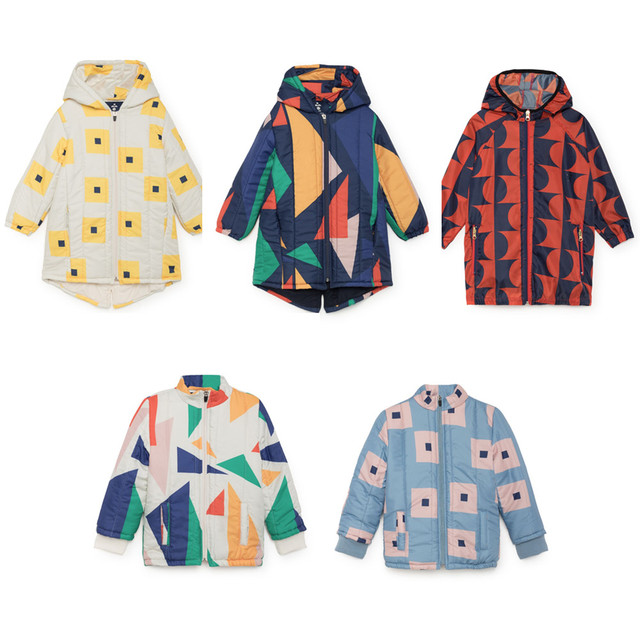 34ad4717d96 Kids Jacket Squares Padded 2018 Bobo Choses Winter Down Parkas Boys Clothes  Coats Geometric Hooded Baby Girls Warm Long Outwear