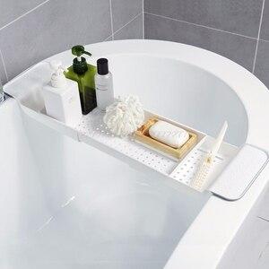 Image 3 - 浴槽棚キャディーシャワー拡張可能なホルダーラック収納トレイ上バス多機能オーガナイザー A10 19 ドロップシップ