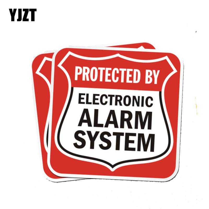 YJZT 2X 12CM*12CM Funny Electronic Alarm System Decal Warning Reflective PVC Car Sticker 12-1173