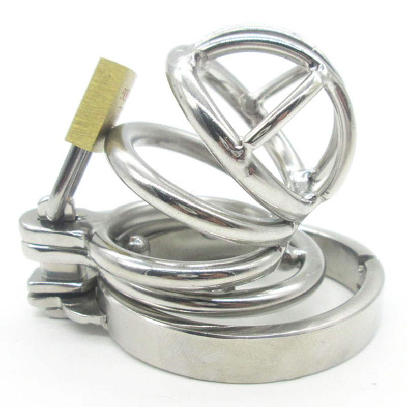 ФОТО Super Small Male Bondage Chastity Device Stainless Steel Adult Cock Cage Lock BDSM Sex Toys Chastity Belt Short Cage