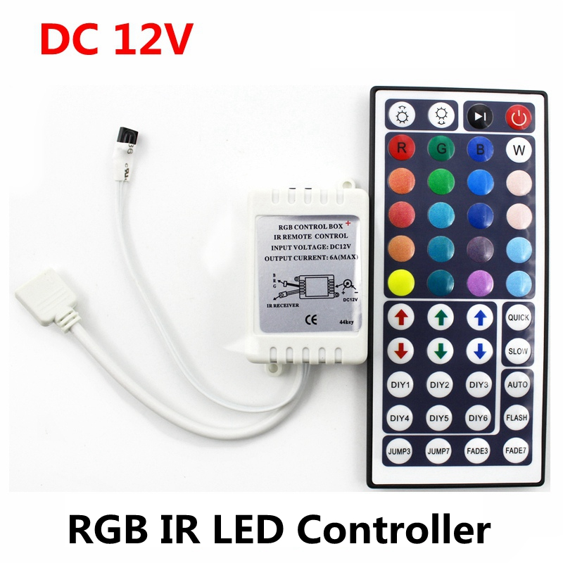 DC12V 6A 72W IR RGB LED Controller 44 nycklar LED Driver Remote Dimmer För LED Strip RGB SMD 2835 3528 5050 3014 5630