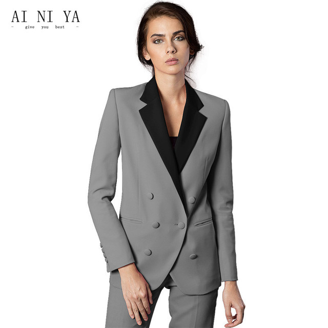 Custom Made Women Business Suits Formal Female Office Trousers Suit Winter Jacket Blazer Long