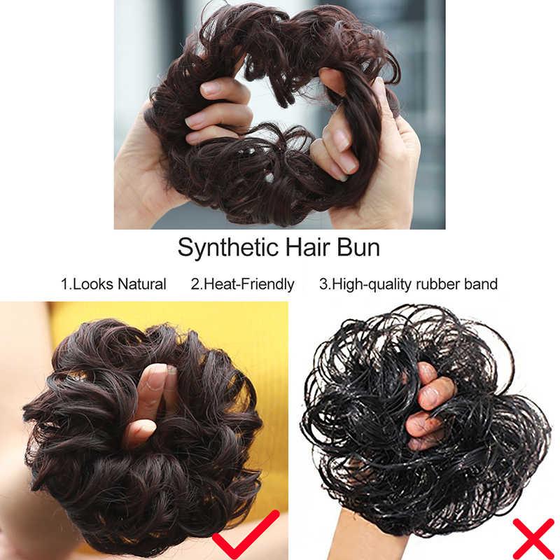 Синтетические поддельные волосы булочка шиньоны шиньон для женщин эластичные резинки волос кусок булочка хвост Updo афро конский хвост аксессуар