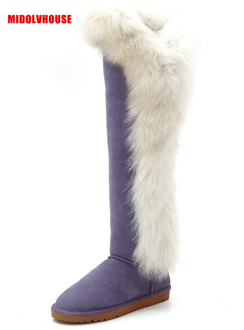women Thigh high boots  fashion style real natural fox fur and Genuine leather winter  over the knee snow boots shoes  flat