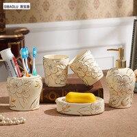 Набор для ванной керамический Лосьон бутылка мыльница для мыла дозатор держатели для зубных щеток Набор продуктов для ванной комнаты фитин