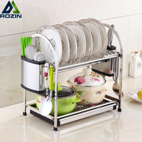 Deck Standing 2 Tier Dish Rack Holder Stainless Steel Drying Drainer Dish Cutlery Cup Rack Kitchen Organizer For Kitchen