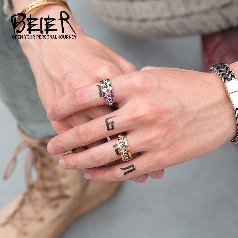▻BEIER nuevo parte chapados en oro/Negro hombre giro del anillo ...