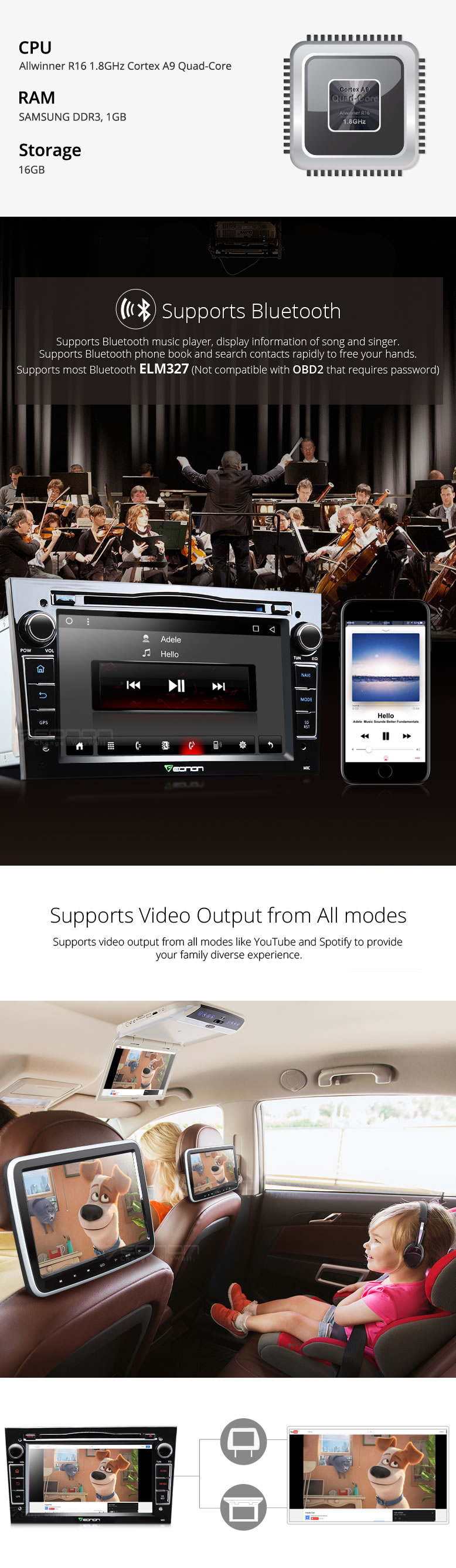7″ Quad Core Android 6.0 OS Special Car DVD for Opel/Vauxhall/Holden Meriva 2006-2008 & Vectra 2005-2008 & Zafira 2005-2010