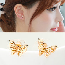 Butterfly Stud Earrings Rose Gold Silver Hollow Charm Earring For Women Fashion Ear Jewelry Accessories Animal Pendientes(China)