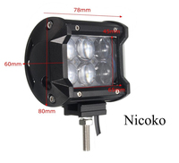Nicoko 18W 4inch LED Work Light Bar Flood Spot Beam Offroad Van 12V 24V 4x4 4WD