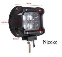 Nicoko 18W 4inch LED Work Light Bar Flood Spot Beam Offroad Van 12V 24V 4x4 4WD