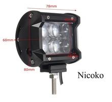 Nicoko 18 W 4 inch LED Barra Ligera del Trabajo Flood Viga de Punto Offroad Van 12 V 24 V 4×4 4WD ATV Motocicleta del Carro del Tractor del Barco Lámpara de Trabajo del LED