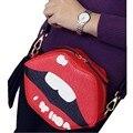 Nova Moda Sexy Lábios Clutch Bag Mulheres de Couro Bolsas Tassel Lábio Saco de Noite Bolsa Carteira Bolsa de Ombro Crossbody A150