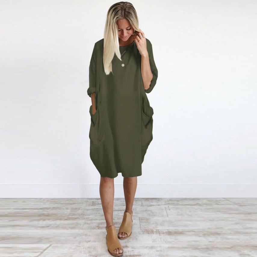 HTB1mgV.c6bguuRkHFrdq6z.LFXa6 Women's Fashion Dress Womens Pocket Loose Dress Ladies Crew Neck Casual Long Tops Dresses Plus Size augu10