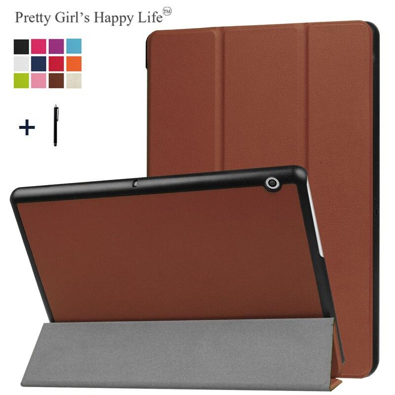 Pour HUAWEI MediaPad T3 10 9.6 ''Couvercle du Boîtier Pour Huawei Honor Lecture Pad 2 9.6 Tablet Stand En Cuir Fundas + Stylus