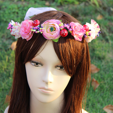Korea fashion diameter 18cm Wedding Peony Flower Wreath headband Girl wedding Party Floral garlands Photography Hair Accessorie