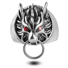 New Punk Rock Style Wolf Head Cool Ring For Men Gifts Fashion Metal Biker Gothic Finger Rings Red Eyes Vintage Jewelry Size 8-11