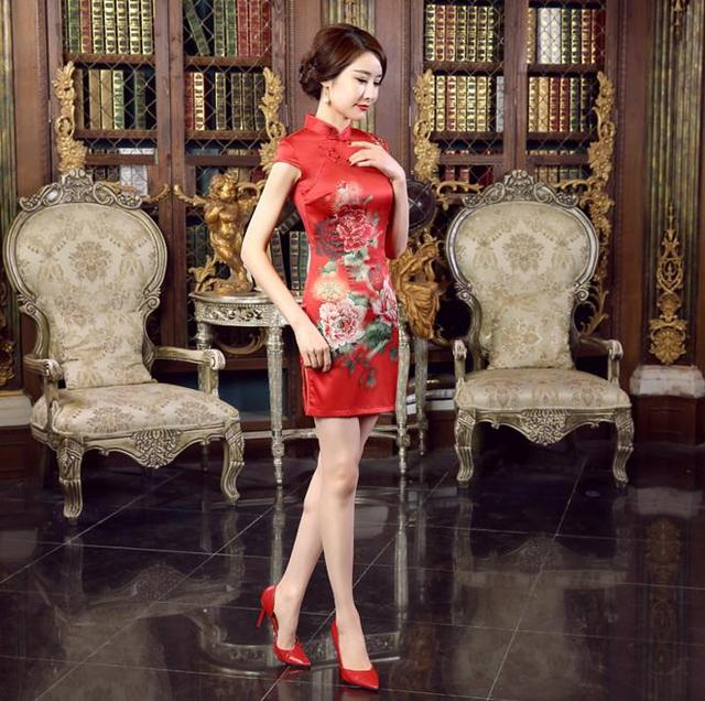 df4d9d52a Red Chinese Style Brides Wedding Party Dress Lady Summer Satin Cheongsam  Vintage Sexy Short Qipao Floral