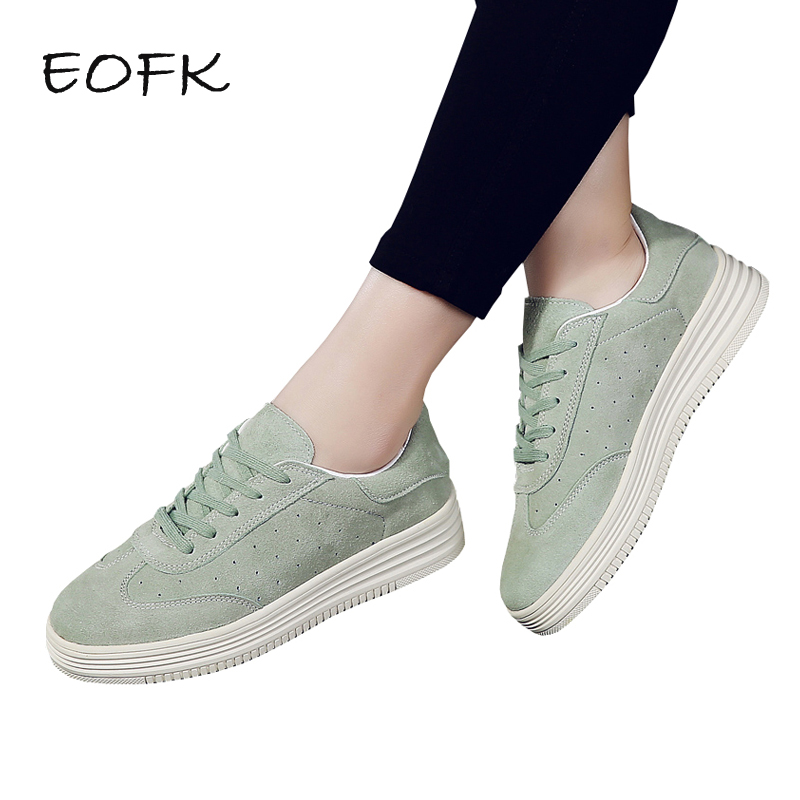 EOFK New Fashion High Quality Women Flats Genuine Leather Shoes Woman Suede Leather Lace Up Green Thick Soles Students Muffin