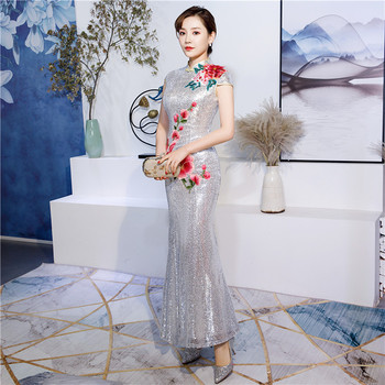 New Lace Cheongsam Long Qipao Dresses Chinese Traditional Wedding Dress China Clothing Store Vestido Oriental Plus Size 3XL 4XL