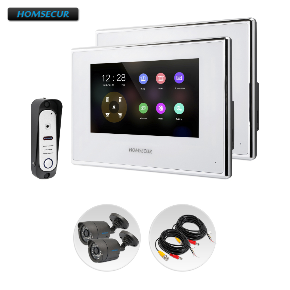 HOMSECUR 4 Wire Hands-free Video Door Phone Intercom System With Aluminium Alloy Camera BC051HD-S+BM718HD-W