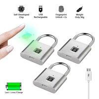 Golden security keyless smart fingerprint padlock USB rechargeable house lock self developing chip Zinc alloy metal