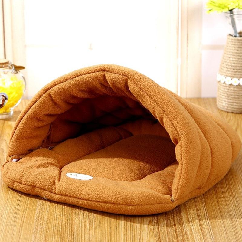 ¡Caliente! Cama del gato del animal doméstico pequeño perro perrito de la perrera sofá Material Polar cama Casa del gato bolsa de dormir caliente nido de alta calidad