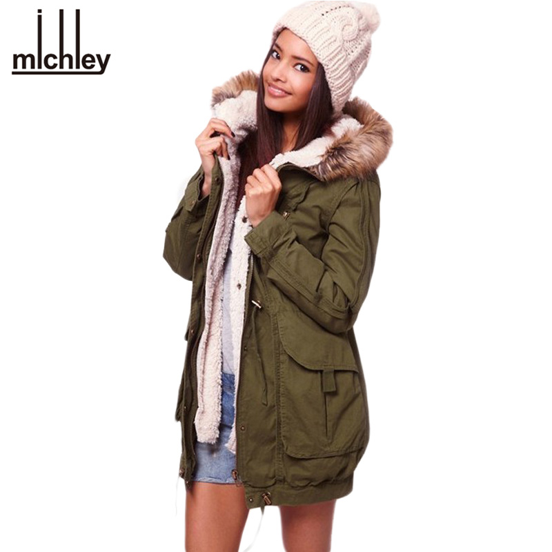 Faux Fur Hooded Army Green Outwear Winter Autumn Overcoat Large Big Size thickening coat Jacket Women a+ Parka JOY031 - IDGIRL Lady store