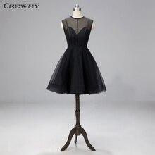 CEEWHY A Line маленькое черное платье Короткие Выпускные платья халат коктейльные платья Выпускные Платья Vestidos de Fiesta