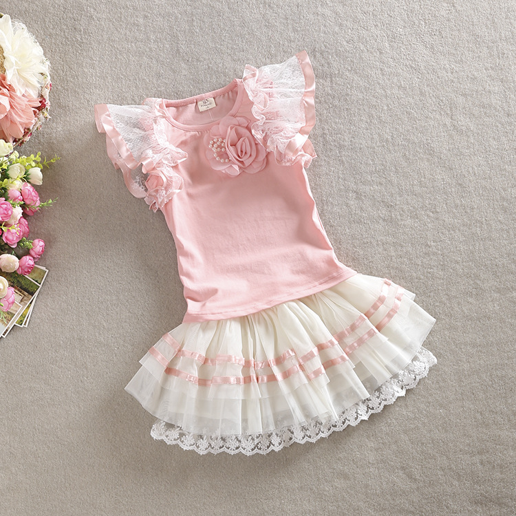 Baby Sets Kids Clothing Floral Jumper Tops with Lace tutu Skirts Summer Baby Princess 2PCS Outfits children clothing