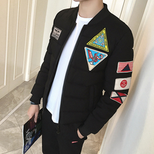 2017 Winter New Pattern Patch Embroidery Labeling Cotton-padded  Solid Color Baseball Collar Long Sleeve Men  Parkas L-3XL