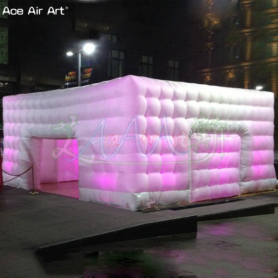 Pop up 7x7m led spot lighting cube marquee inflatable honeycomd shaped wall commercial show cubic tent,wedding house no lights