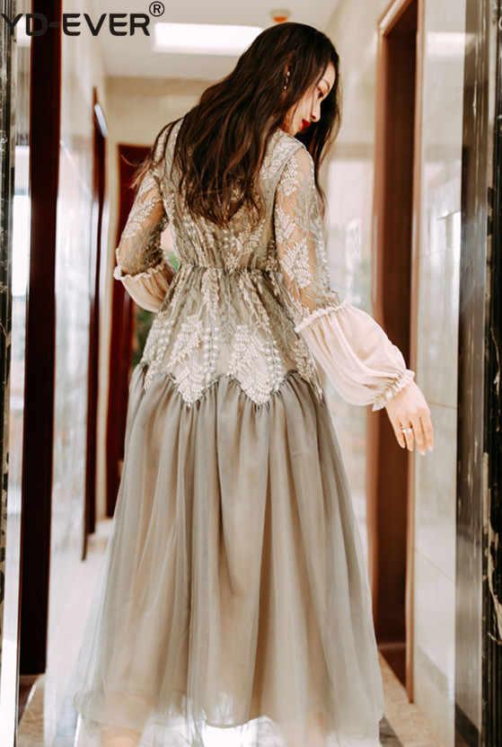 Винтажное цветочное Вышивка Кружева Лоскутная Ткань Сетчатое платье 2019 весеннее женское платье с рукавами-фонариками Элегантное Длинное Платье из вуали