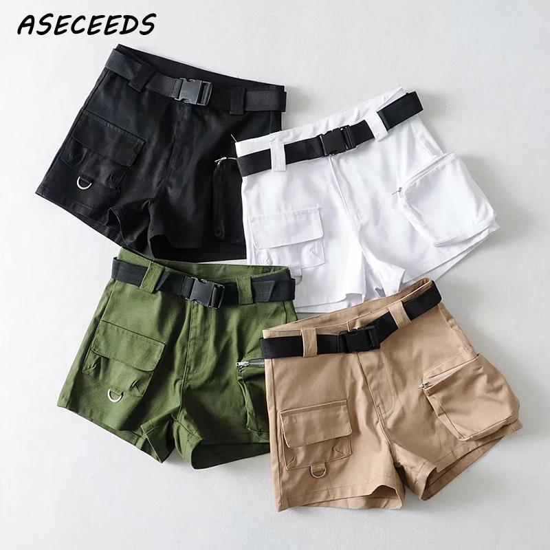 Summer   shorts   2019 Sexy Elastic high waist   shorts   women sashes black   shorts   vintage korean cotton pocket biker   shorts   plus size