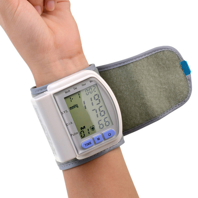Home Digital Automatic Wrist Cuff Blood Pressure Monitor Heart Beat Meter LCD Display Sphygmomanometer Tonometer Health Care