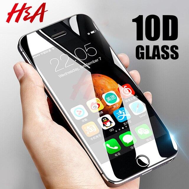 H & A 10D Curvo Borda de Vidro De Proteção no Para iPhone 5 5S se 5c Temperado Protetor de Tela Para iPhone 5c 5S Filme de Vidro se