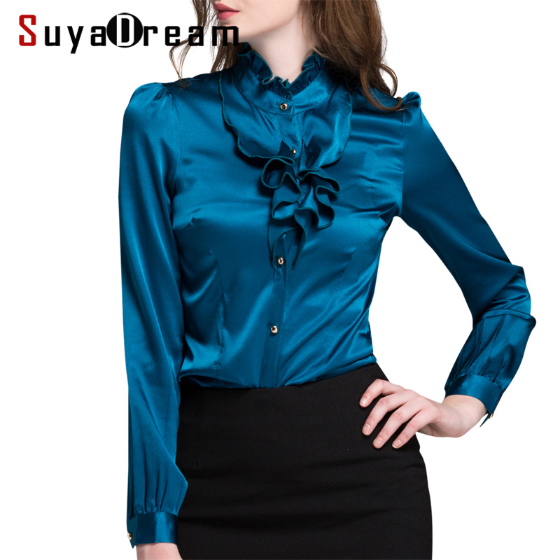 Women SILK SATIN SHIRT 94 Mulberry Silk 6 Spandex Long sleeved Plus size Office Lady Shirt
