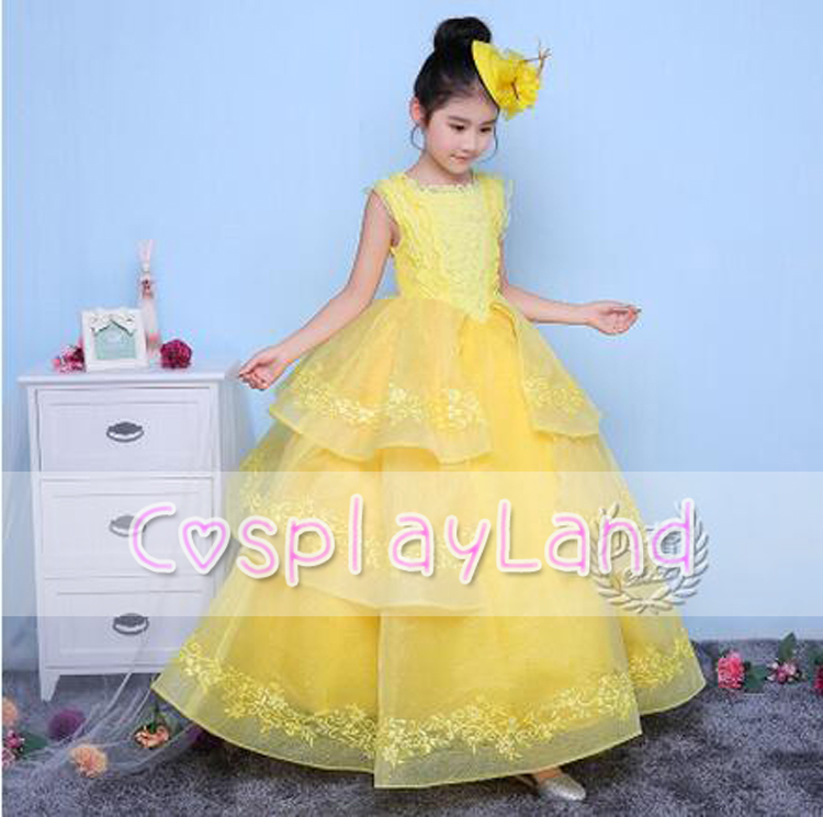 2017 Girls Dresses Costume Belle From Beauty and the Beast Dining Gown Child Yellow Princess Cosplay Party Fancy Dress
