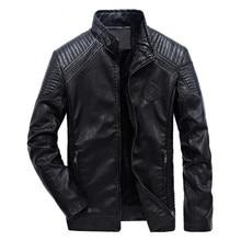 Осень и зима Мужская кожаная куртка Европа и Америка отдыха мотоциклетные кожаная куртка бархатные мужские пальто тонкий ветрозащитный