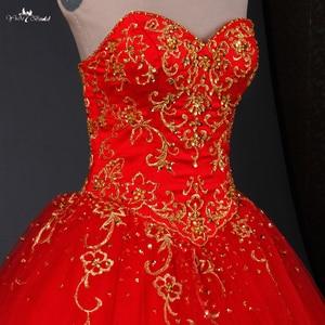 Image 4 - TW0194 الأحمر الزفاف اللباس الذهب التطريز Sweethearted مع الديكور الكرة ثوب فساتين الزفاف الباكستاني