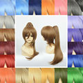 Full Lace Anime Cosplay Natural Wigs Synthetic 35-40cm Short Hair +1 Clip-in 60cm Long Straight Ponytail Heat Resistant Wig
