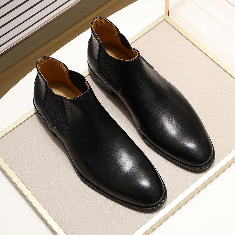 2019 bottes Chelsea en cuir véritable chic hommes de mode sans lacet bout simple noir bottine hommes haut robe top chaussures taille 39 46 - 2