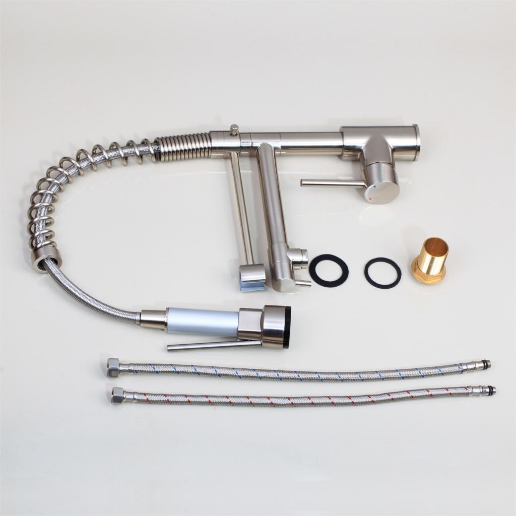 KEMAIDI robinet de cuisine à ressort pulvérisateur latéral à double bec mitigeur mitigeur robinet évier 360 robinets de cuisine à Rotation - 6