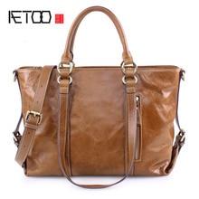 AETOO New fashion European and American oil wax cowhide handbags large capacity leather handbags shoulder bag
