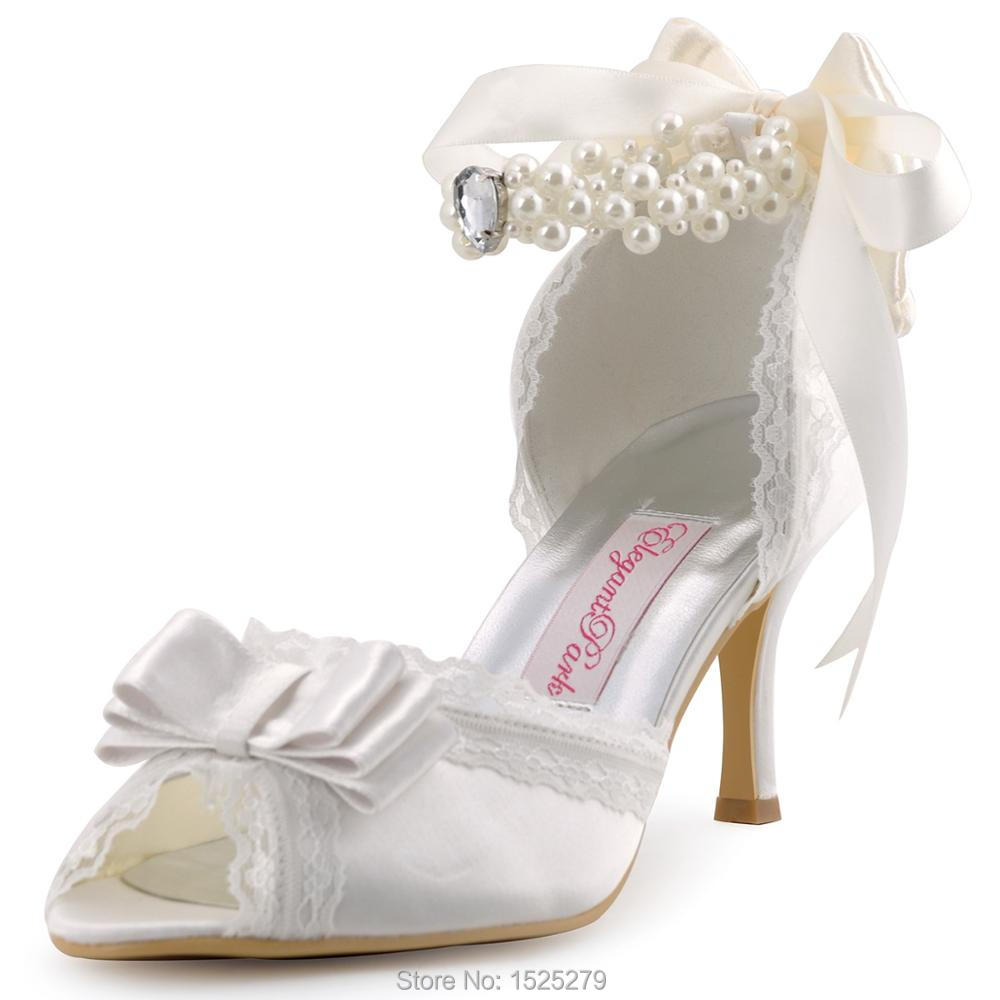 цена на A3202 Ivory Women Bridal Party Pumps High Heel Lace Trim Platform Bow Pearls Buckles Straps Satin Wedding Bride Shoes